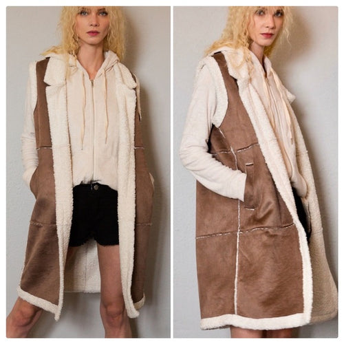 Brown Sugar Suede & Sherpa Long Duster Vest