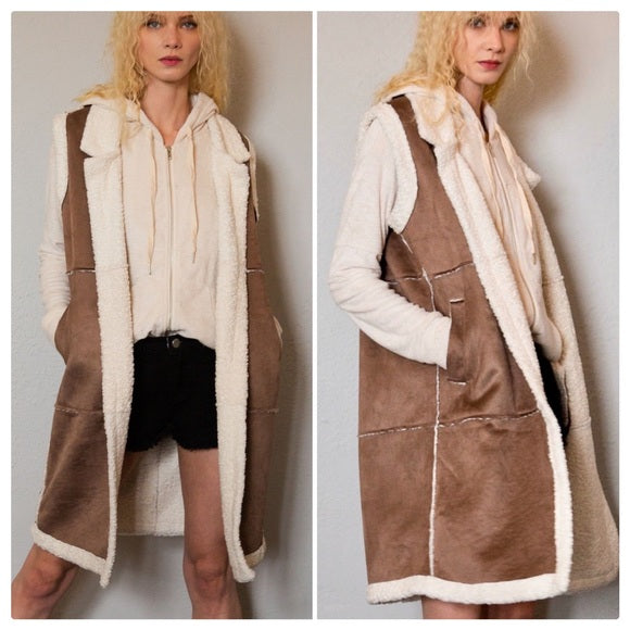 Sherpa Long Duster Suede Vest
