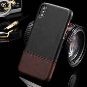 KISSCASE Business Leather Case For iPhone X 10 XS Max Soft Phone Back Cover Vintage Leather Case For iPhone 6 6s 7 8 Plus Fundas