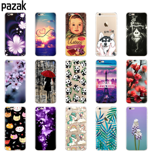 silicone Case For Iphone X 8 7 6 6s 5 5s SE Plus phone Case clear shockproof soft tpu printing coque for apple luxury shell