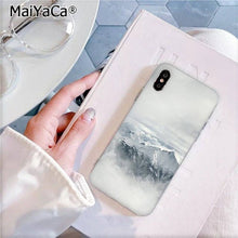 Load image into Gallery viewer, MaiYaCa Black White Mountain Pine Tree Forest Mountain Peak Mist Phone Case for iPhone 11 pro 8 7 6 6S Plus X XS MAX 5 5S SE XR