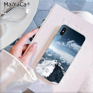 MaiYaCa Black White Mountain Pine Tree Forest Mountain Peak Mist Phone Case for iPhone 11 pro 8 7 6 6S Plus X XS MAX 5 5S SE XR