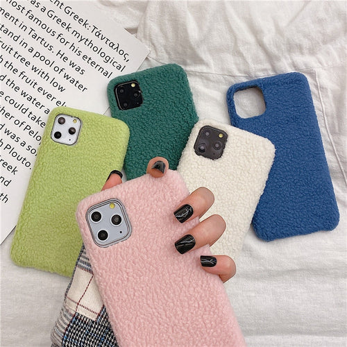 Moskado Soft Warm Winter Plush Phone Cases For iphone 11 pro Max Fashion PU Back Case Cover For iphone XS Max XR X 6 6S 7 8 Plus