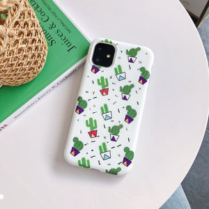 For iPhone 11 Pro Max XS Max XR Case Summer Fresh Green Plant Cactus Cover For iPhone 7 8 6s 6 Plus Soft Silicone TPU Case