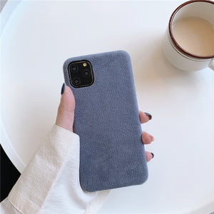 Kowkaka Simple Suede Phone Cases For iPhone11 Pro Max XS Max XR X 7 8 6 6s plus Matte Soft Silicon Anti-knock Cover Capa Couple