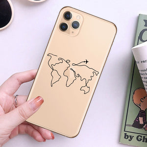 World Map Travel Just Go Phone Case For iPhone XS MAX X 11Pro XR 7 8 6 6s Plus 5 SE Fashion Clear Silicone Soft Back Cover Coque
