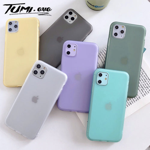 Original Half Transparent Silicone Phone Cover Case For iPhone 6 6s 7 8 Plus Candy Color Soft Case For iPhone Xr XS Max X 11 Pro