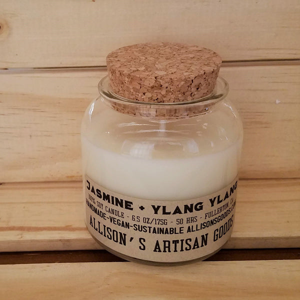 standard recycled glass candle soywax in jar with cork top apothecary inspired