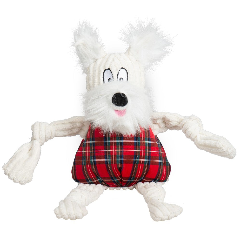 HuggleHounds Holiday 2020 Totally Tartan Whiskey Westie Knottie - Large
