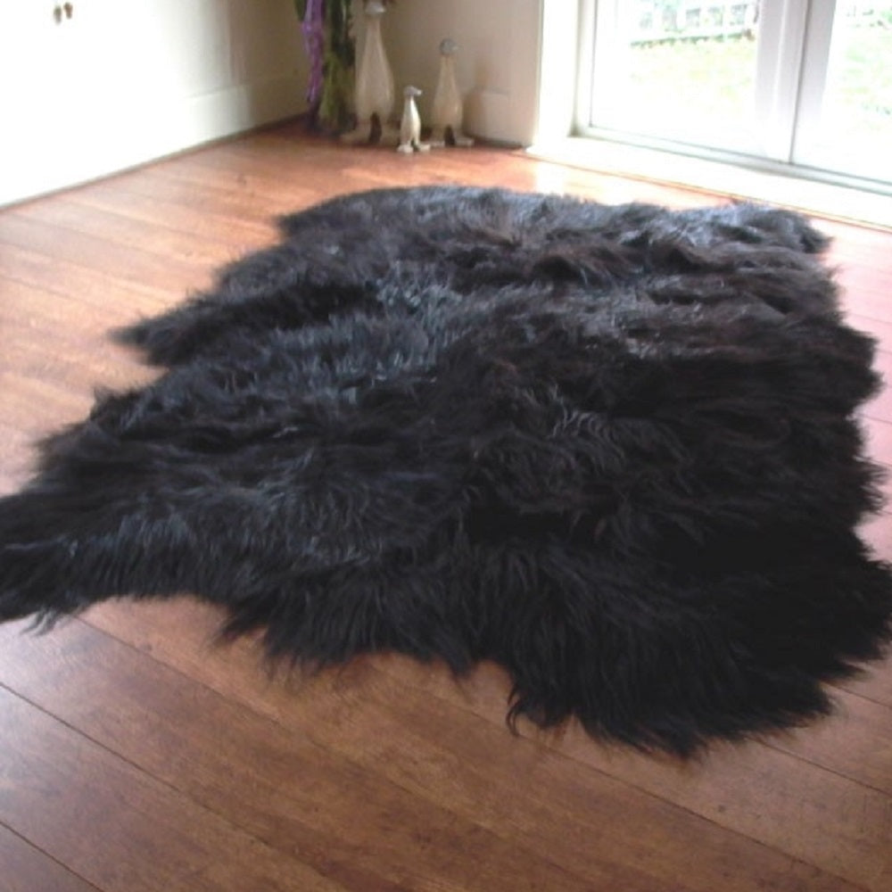 Icelandic Black Sheepskin Rug with Natural Edges - Custom Made