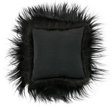 Load image into Gallery viewer, Luxury Long Haired Sheepskin Cushion - Black