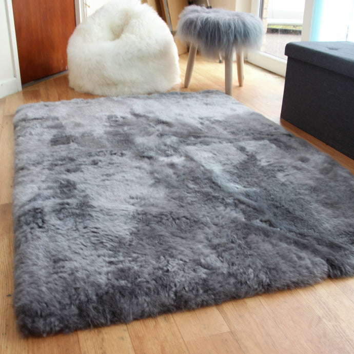 Icelandic Grey Sheepskin Rug with Straight Edges (Shorn) - Custom Made