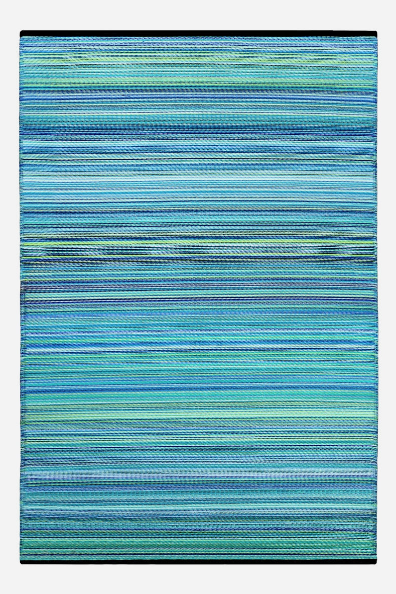 Weaver Turquoise Striped Recycled Indoor Outdoor Rug Rughouse