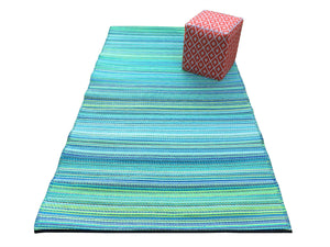 Weaver Turquoise Striped Recycled Indoor & Outdoor Rug