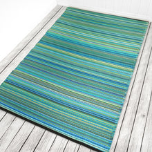 Load image into Gallery viewer, Weaver Turquoise Striped Recycled Indoor & Outdoor Rug