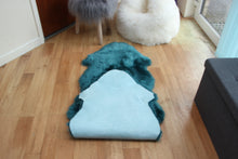 Load image into Gallery viewer, Teal Sheepskin Rug (Double)