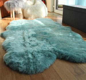 Duck Egg Blue Sheepskin Rug (Quad)