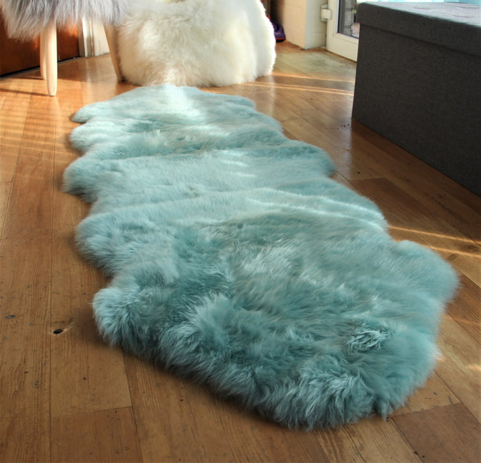 Duck Egg Blue Sheepskin Rug (Double)