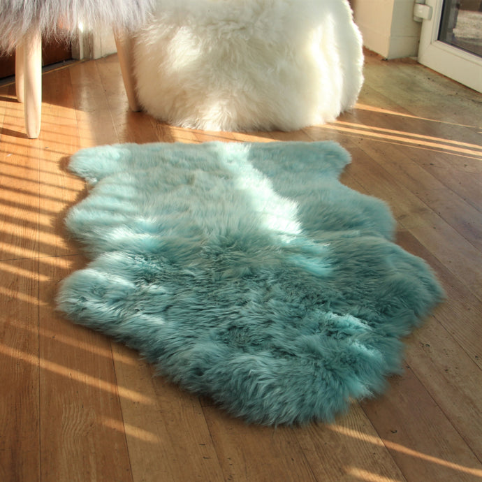 Duck Egg Blue Sheepskin Rug (Single)