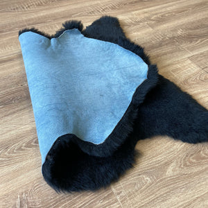 Small British Black Sheepskin Rug (Single)