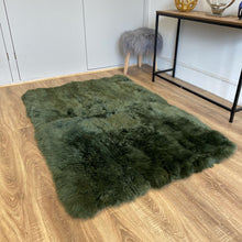 Load image into Gallery viewer, Rectangular Lined Olive Green Sheepskin Rug