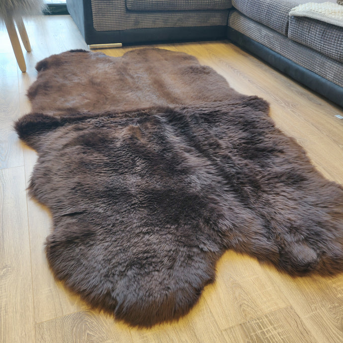SALE* Chocolate Sheepskin Rug (Quad) with different colour tones and thinckness