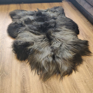 Icelandic Rare Breed Sheepskin Rug - Natural Black and Grey - RBXL1