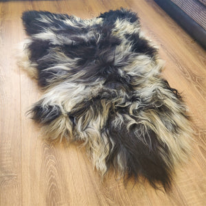 Icelandic Rare Breed Sheepskin Rug - Natural Black and White - RBXL2