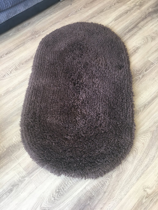 SALE - Oval Shaggy Rug - Chocolate