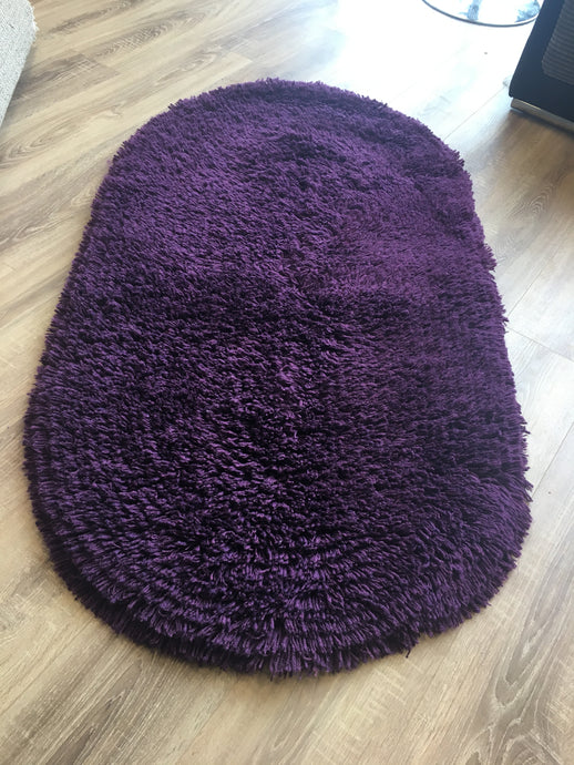 SALE - Oval Shaggy Rug - Plum
