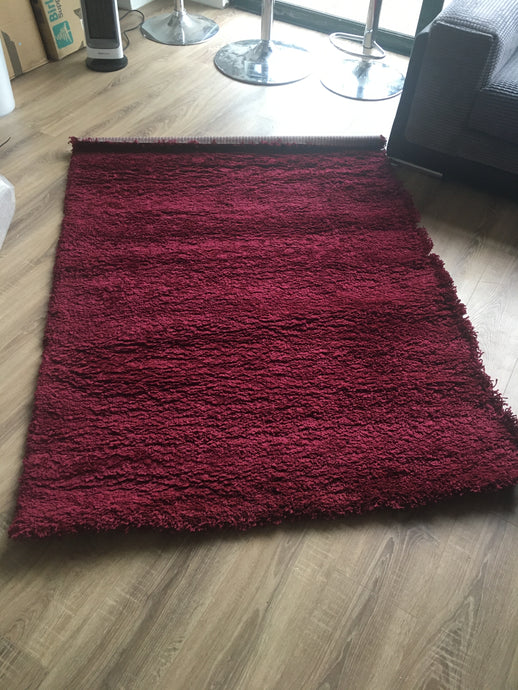 SALE - Sunset Red Shaggy Rug - (Small dirty mark on back)