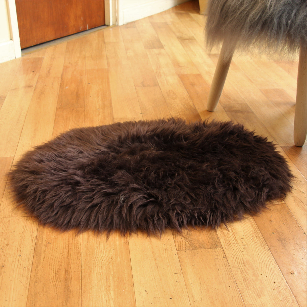 Chocolate Oval Sheepskin Rug