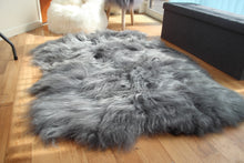 Load image into Gallery viewer, Icelandic Grey Sheepskin Rug with Natural Edges - Custom Made