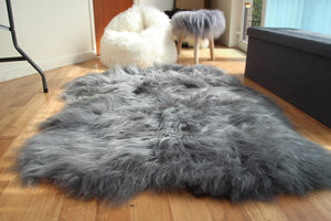 Icelandic Grey Sheepskin Rug with Natural Edges - Custom Made