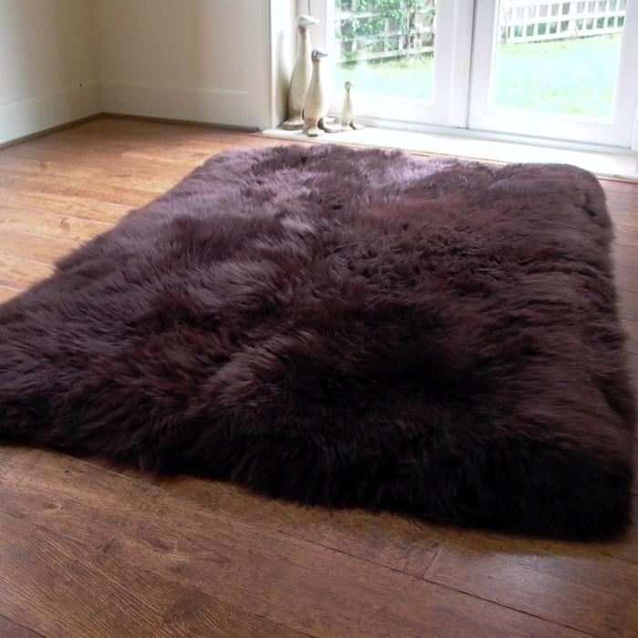 Rectangular Lined Chocolate Sheepskin Rug