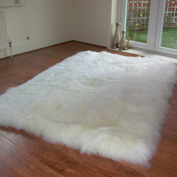 British Natural Sheepskin Rug with Straight Edges - Custom Made