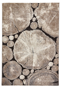 Woodland 6318 Beige and Black Modern Rug
