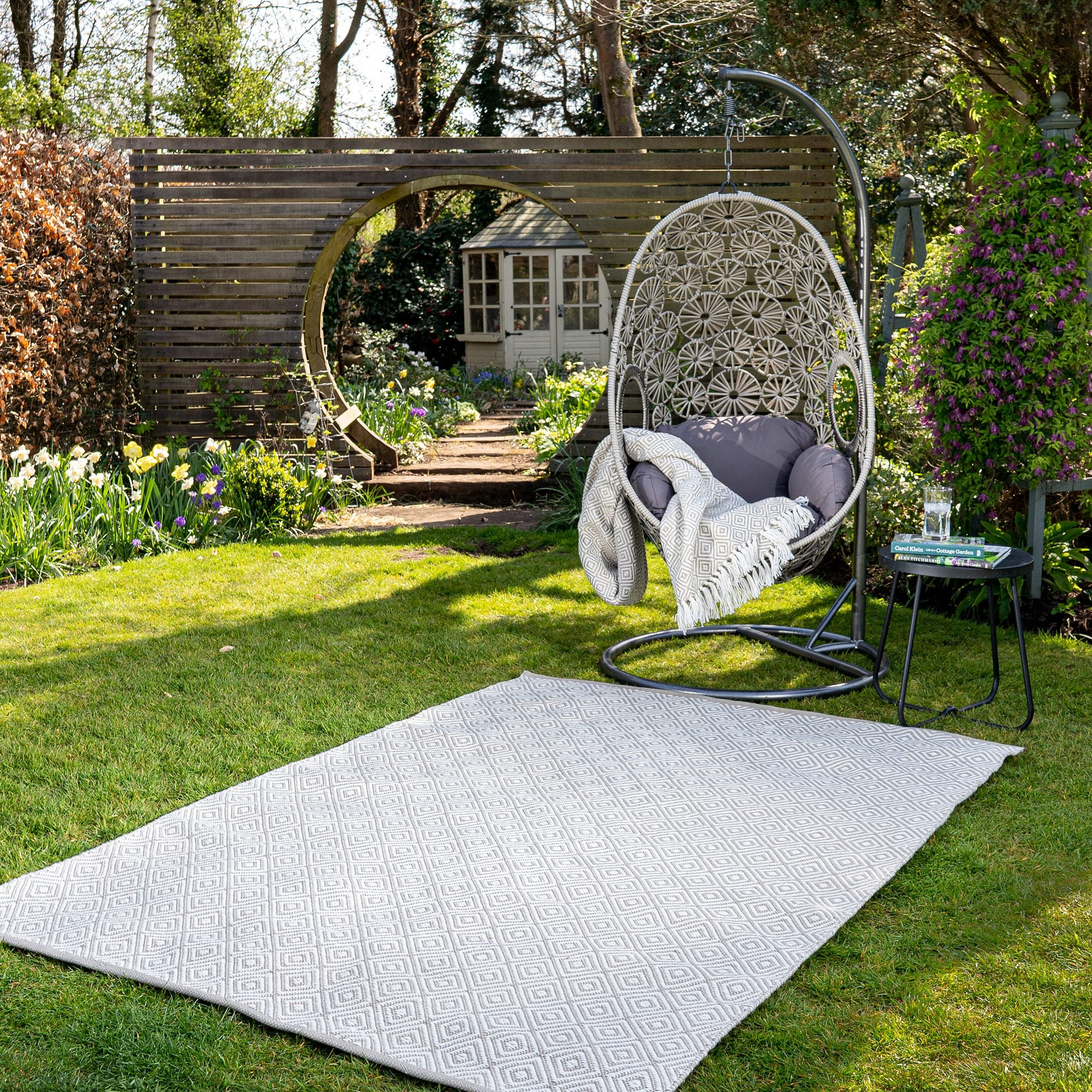 An image of Modern Diamond Eco-Friendly Woven Indoor / Outdoor Rug 80x150cm / Natural