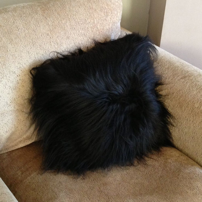 Luxury Long Haired Sheepskin Cushion - Black