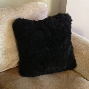 Luxury Short Haired Sheepskin Cushion - Black