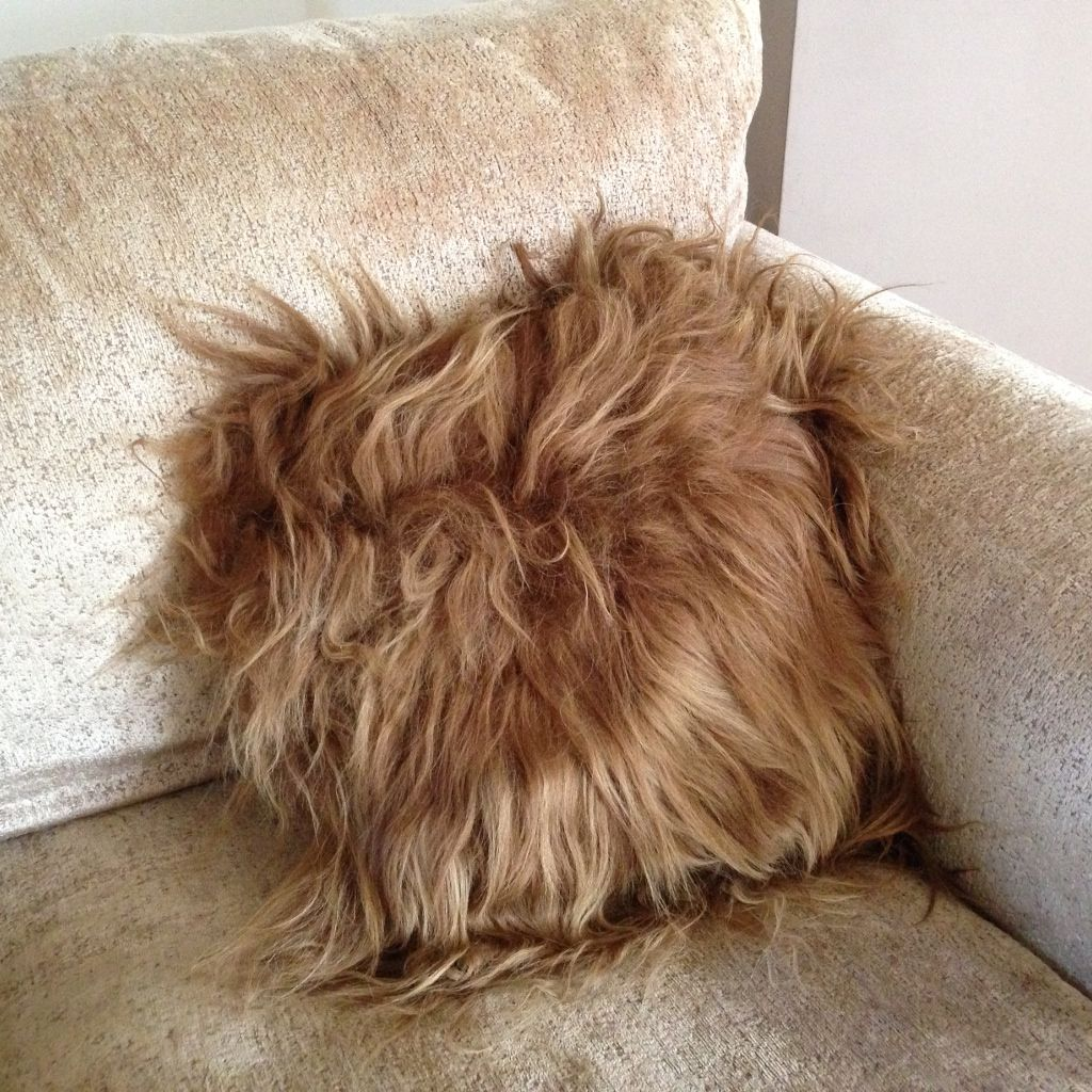 Luxury Long Haired Sheepskin Cushion - Rusty Brown