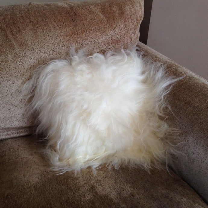 Luxury Long Haired Sheepskin Cushion - Natural