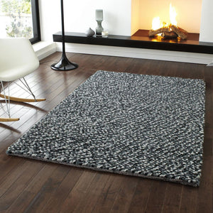Pebbles Grey PB10 Hand Knotted Modern Shaggy Rug - 120 x 170cm *Sale*