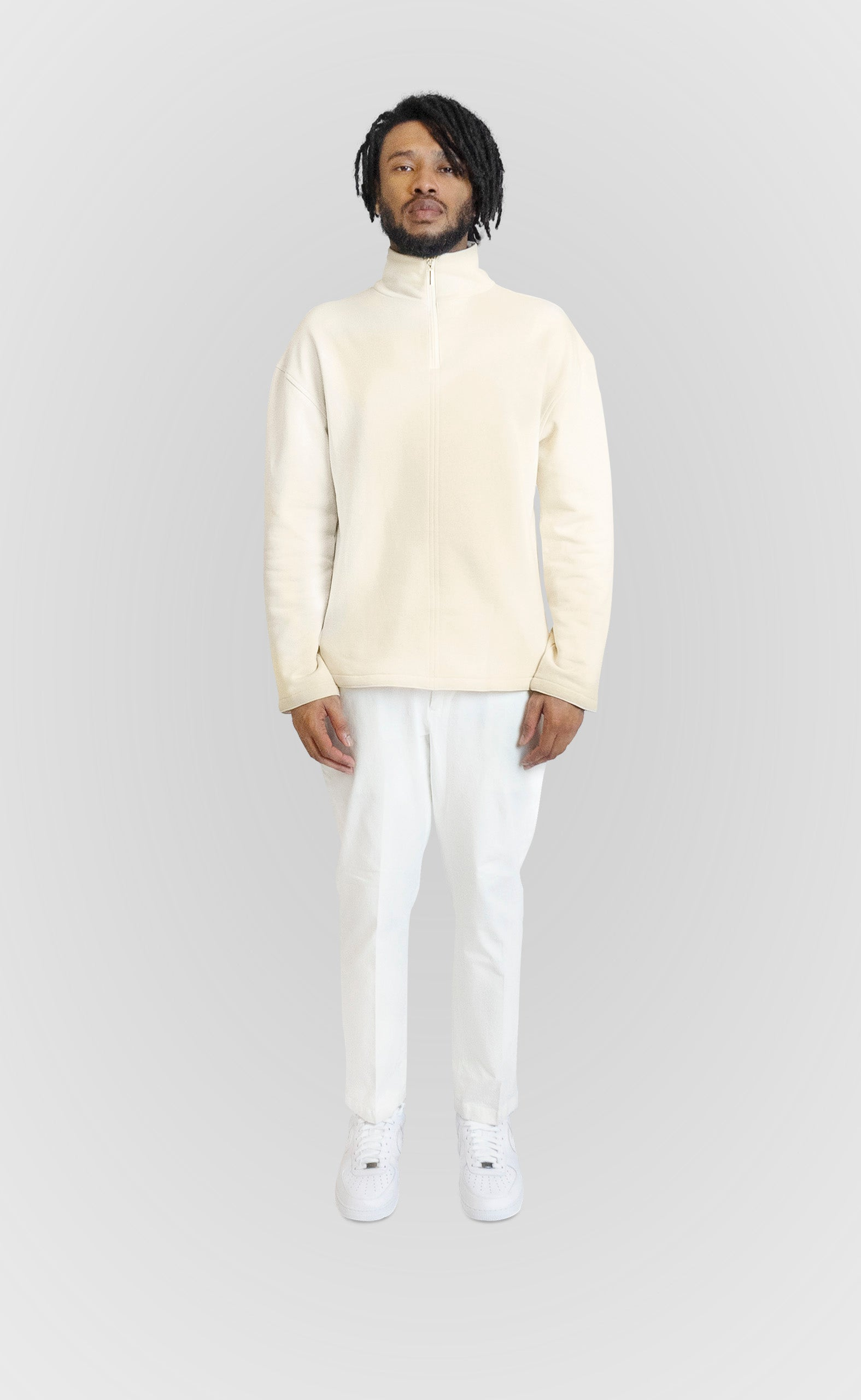 Ivory Zip Up Sweater - Alldey Studios