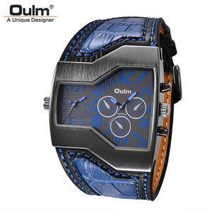 Oulm Classic Style Dragon Leather Wristwatch