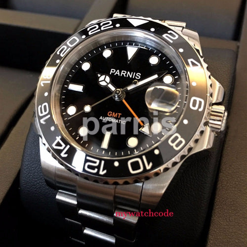 40mm PARNIS black dial Sapphire glass GMT Automatic Mens watch (Premium)