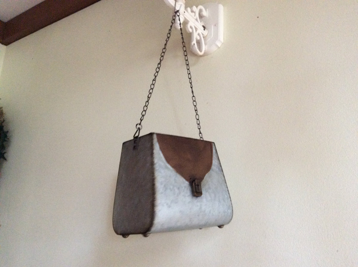 Galvanised Rust handbag Planter with chain