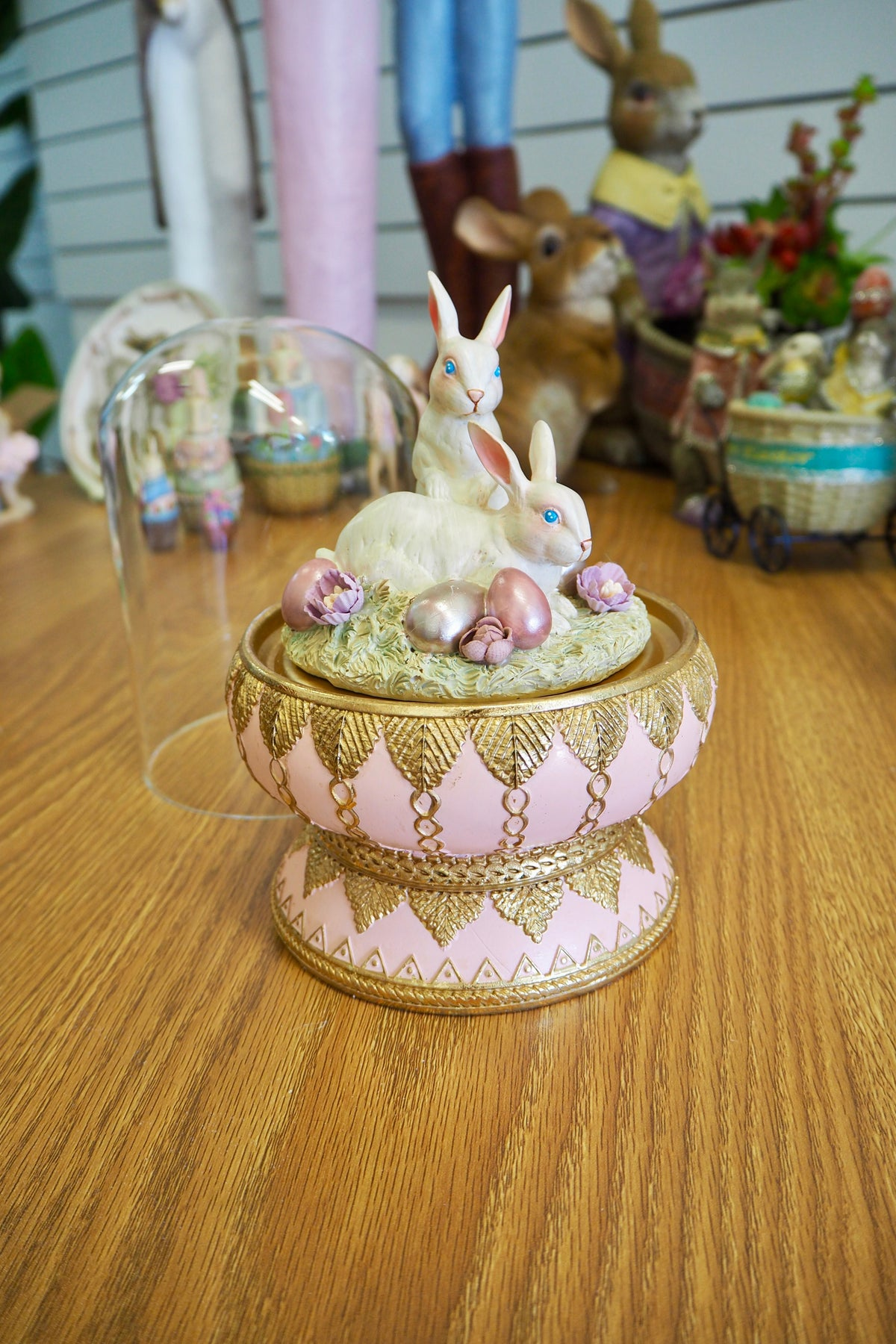 Easter Decorations - Rabbit In Cloche