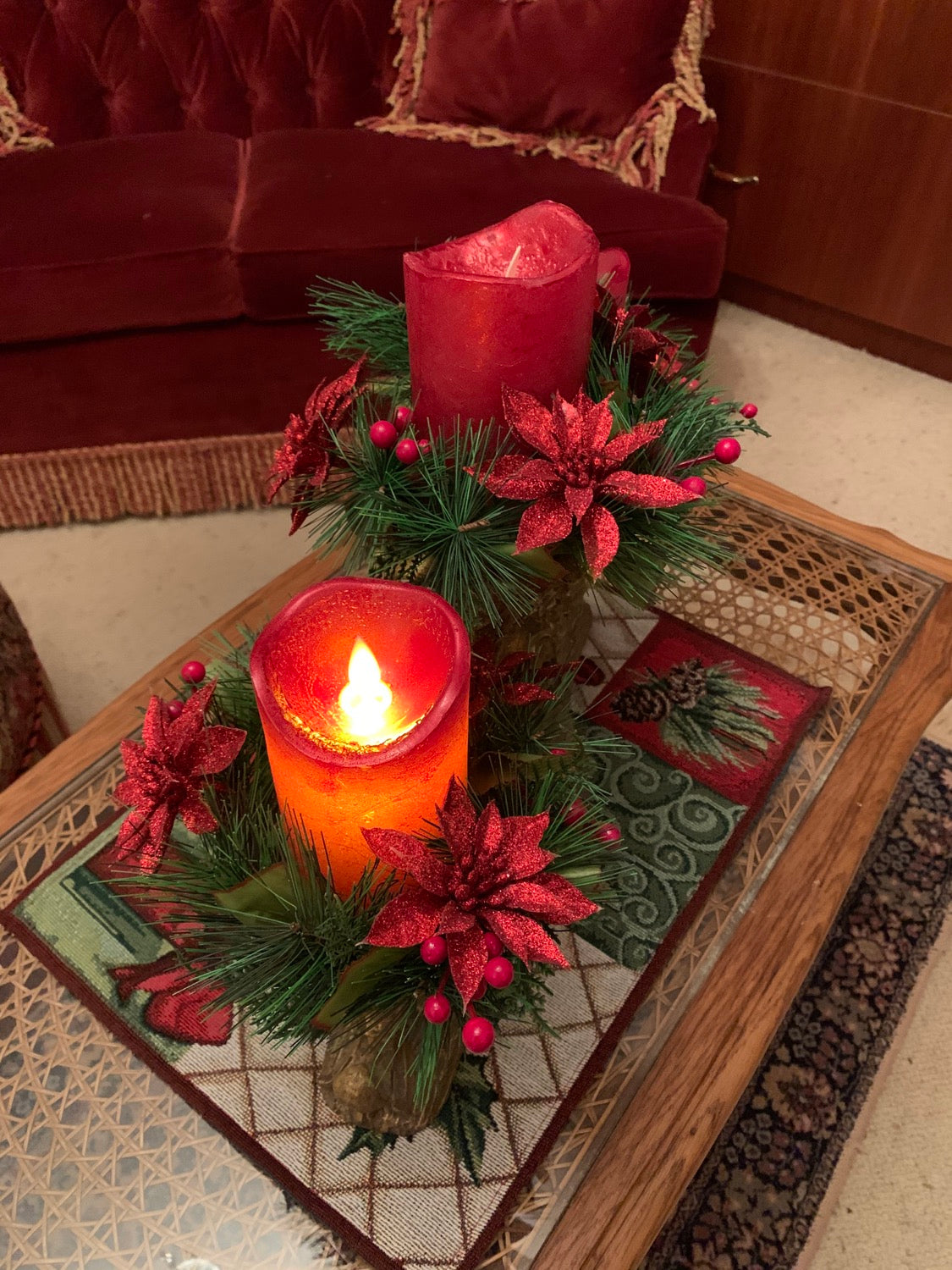 Christmas Decorations - Flameless Red Candle
