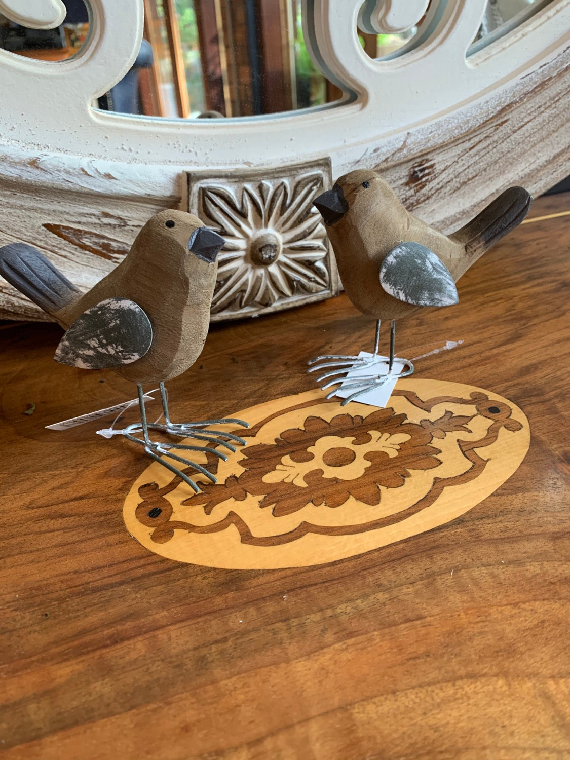 Home Decor and Garden -Set of 2 Shabby Birds Natural W/Grey